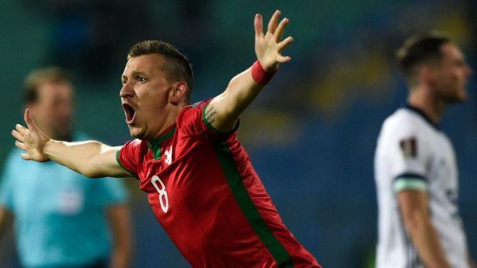 Bulgaria's midfielder Todor Nedelev celebrates scoring vs Northern Ireland
