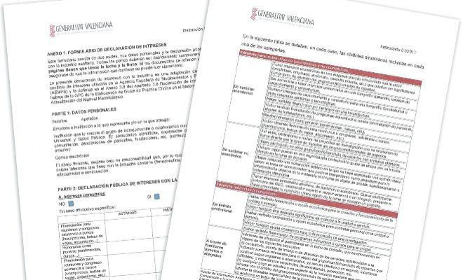 En la instrucción para la declaración de conflicto de intereses se aporta un formulario y una tabla que detalla cada una de las posibles incompatibilidades de los trabajadores de Sanidad. EL MUNDO