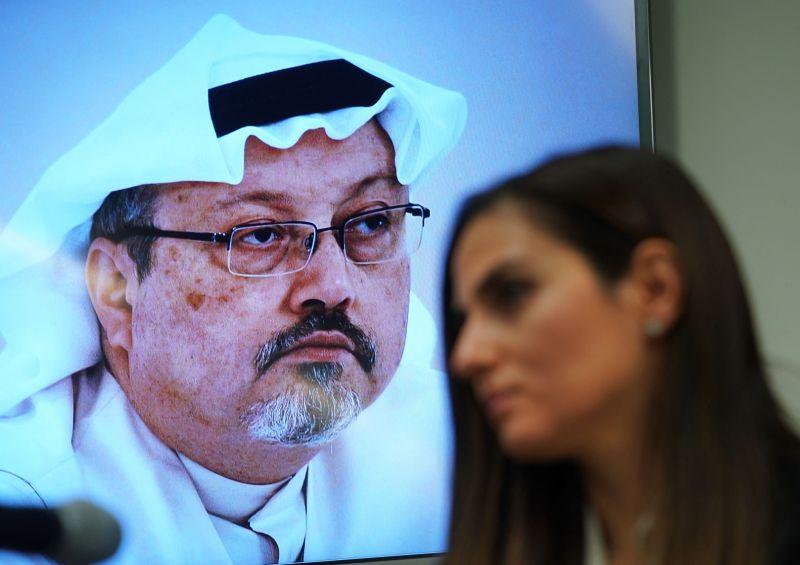 En esta imagen de archivo, Sherine Tadros, directora de la Oficina de Anistía Internacional de la ONU, en Nueva York, habla sobre el caso Khashoggi.