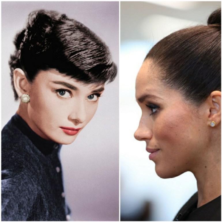 Audrey Hepburn's natural eyebrows, with slight ca
