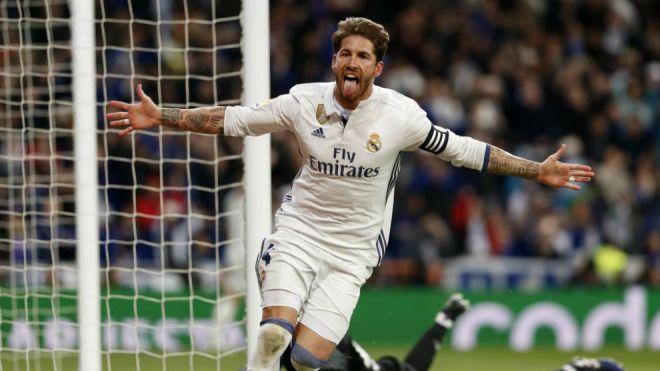Ramos célèbre le but de la victoire contre le Betis à Bernabeu