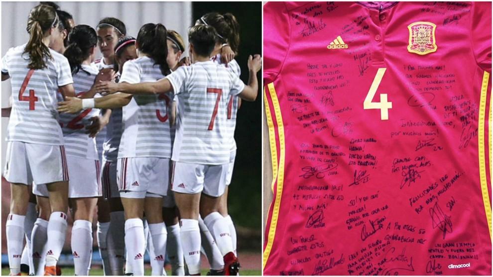 Camiseta de Irene Paredes firmada por sus compañeras de selección.