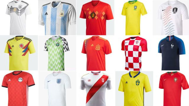 Some of the World Cup team's shirts