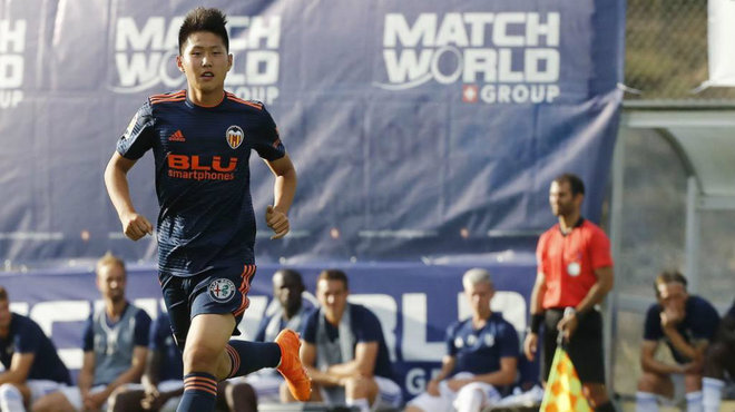 Kangin Lee en su debut con el primer equipo ante el Lausanne. Foto: Marca