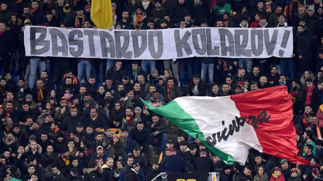 Roma ultras unveil banner insulting Kolarov