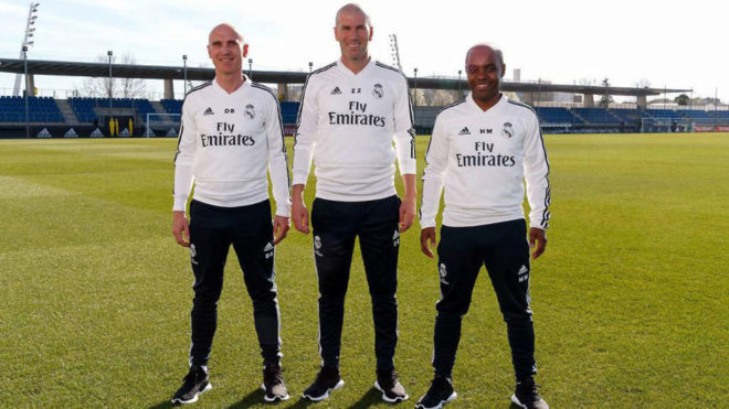 Zinedine Zidane posing at Valdebebas alongside his assistants  PHOTOS: CHECK OUT ZIDANE'S FIRST TRAINING SESSION BACK AT REAL MADRID AHEAD OF CELTA VIGO'S CLASH 15524660364549