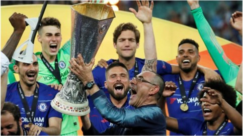 Image result for maurizio sarri europa league trophy
