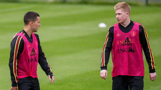 Hazard and De Bruyne are together on international duty for Belgium.