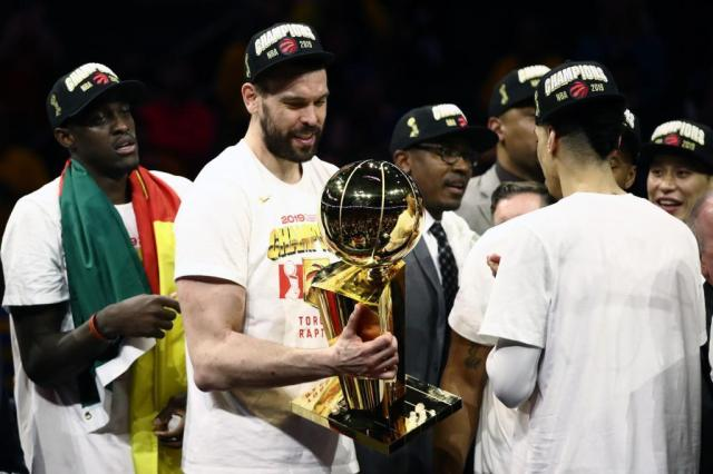 Marc Gasol with the Larry O'Brien Championship Trophy.