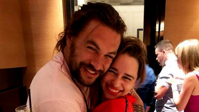 Jason Momoa and Emilia Clarke during the surprise party of birthday