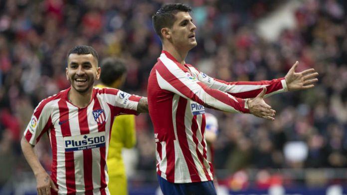 Morata celebrates his goal.