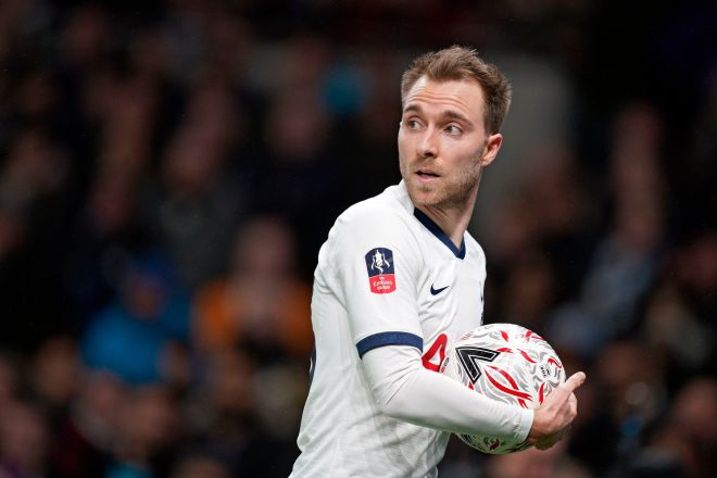 London (United Kindgom), 14/01/2020.- Tottenhams Christian <HIT>Eriksen</HIT> during the FA Cup third round soccer match between Tottenham and Middlesborough at Tottenham Hotspur Stadium, London, Britain, 14 January 2020. (Reino Unido, Londres) EFE/EPA/WILL OLIVER EDITORIAL USE ONLY. No use with unauthorized audio, video, data, fixture lists, club/league logos or live services. Online in-match use limited to 120 images, no video emulation. No use in betting, games or single club/league/player publications