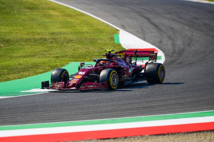 lt;HIT gt;Ferrari lt;/HIT gt;s Monegasque driver Charles Leclerc drives during the first practice session at the Mugello circuit ahead of the Tuscany Formula One Grand Prix in Scarperia e San Piero on September 11, 2020. (Photo by Miguel MEDINA / AFP)