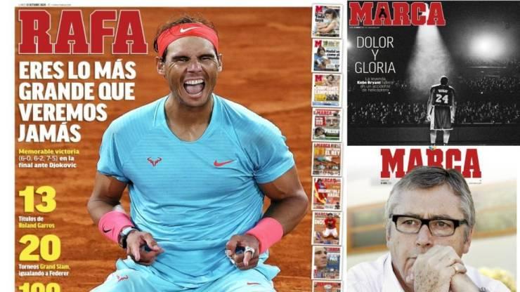 El triunfo de Nadal en Roland Garros, mejor portada de MARCA del a