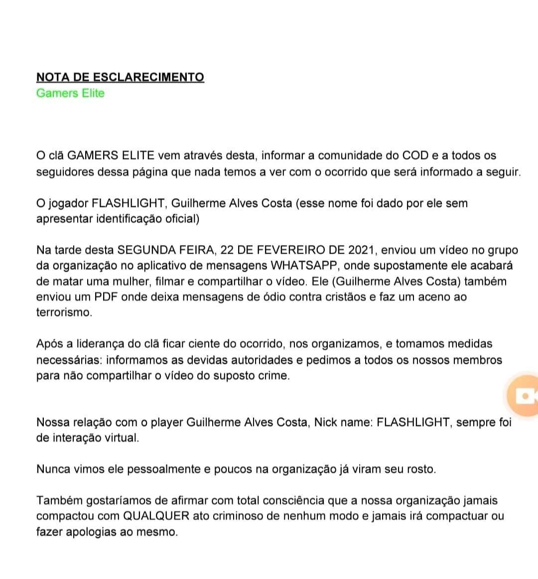 Comunicado Oficial de Gamers Elite.