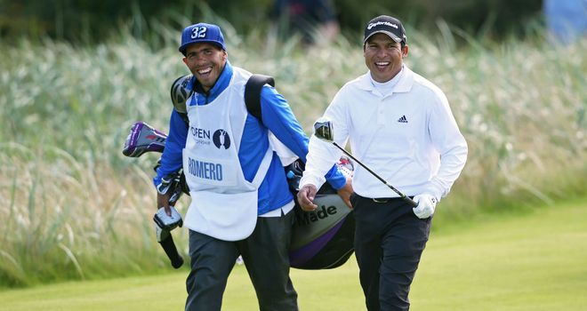 Carlos Tevez (L) acted as caddie for Andres Romero (R) during the final round of The Open at Lytham