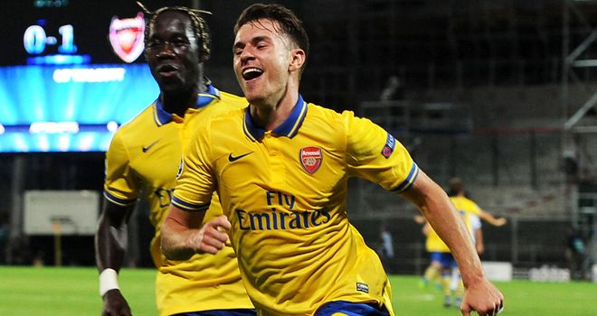 Aaron Ramsey: Celebrates scoring Arsenal's crucial second at Marseille