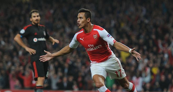 Alexis Sanchez: Celebrates giving Arsenal the lead