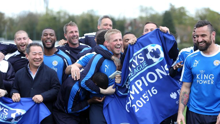 Leicester City players celebrate at Belvoir Drive
