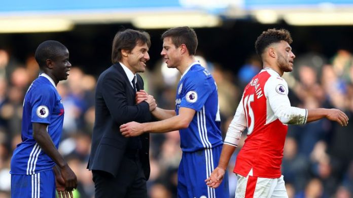 Conte claims Arsenal are favourites against Chelsea this weekend, despite finishing 18 points ahead of them at the top of the Premier League