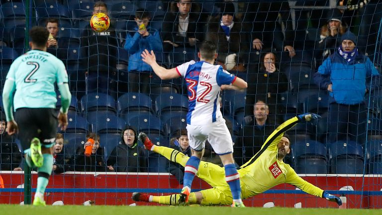 Craig Conway hammers home Blackburn's winner against Derby from the penalty spot