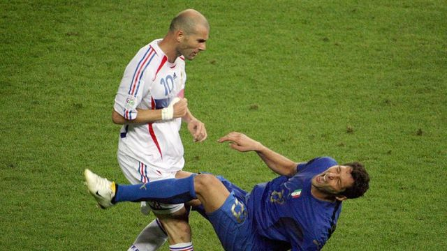 Zidane was sent off for this infamous headbutt on Marco Materazzi during the 2006 World Cup final