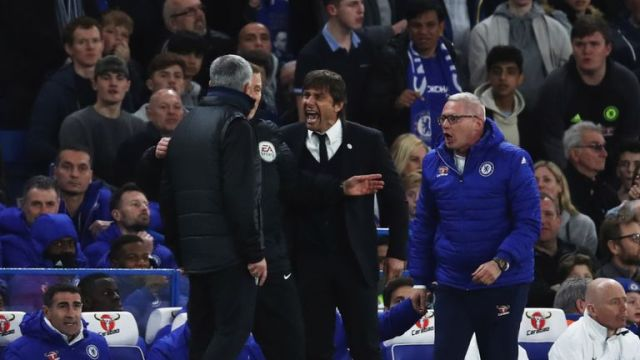 A fiery first half saw Antonio Conte confront Mourinho following a challenge
