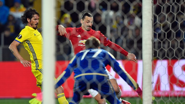 Ibrahimovic crosses into the box during the match in Russia
