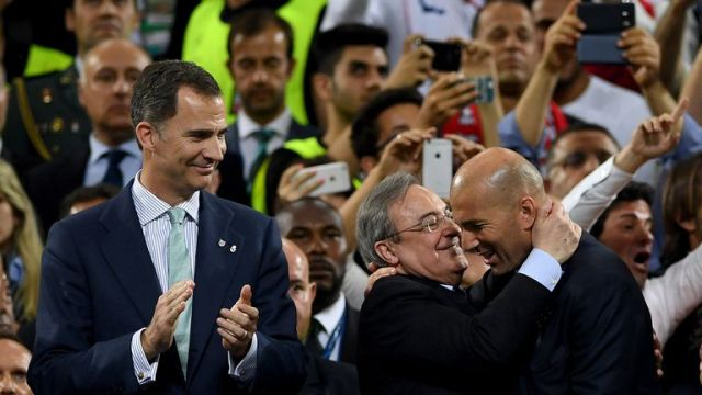 Perez and Zinedine Zidane celebrate Real's Champions League success in Cardiff earlier this month