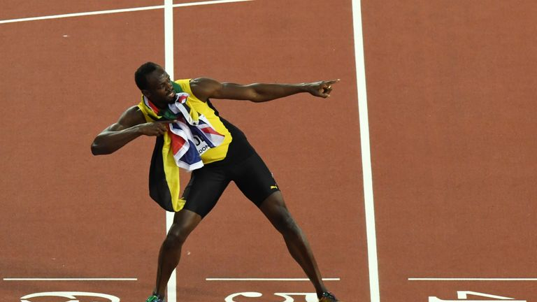 Usain Bolt still had time for his trademark Lightning Bolt celebration after finishing third in the 100m