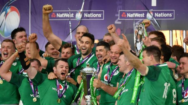 Ireland celebrate winning the 2018 Six Nations Grand Slam title