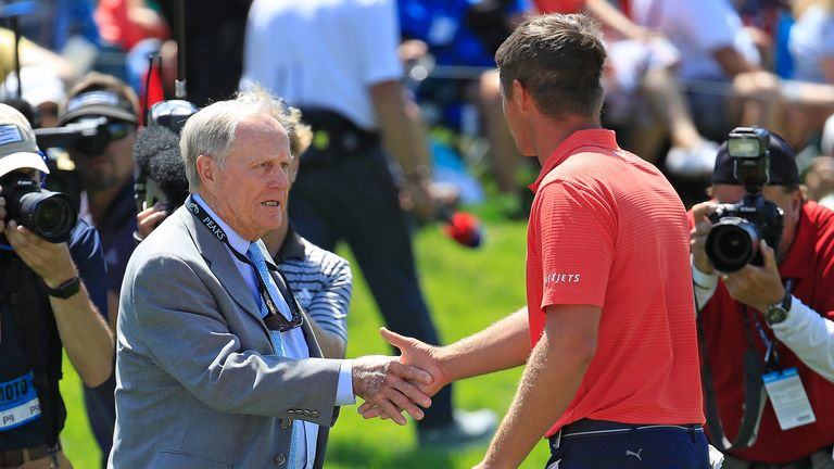 Tournament host Jack Nicklaus was the first to congratulate the champion