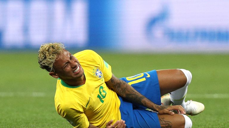 Neymar was fouled 10 times during the match against Switzerland - more than any player in a World Cup game since 1998