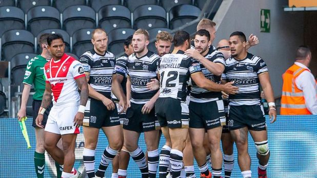 Hull FC celebrate Bureta Faraimo's first of two tries on Friday