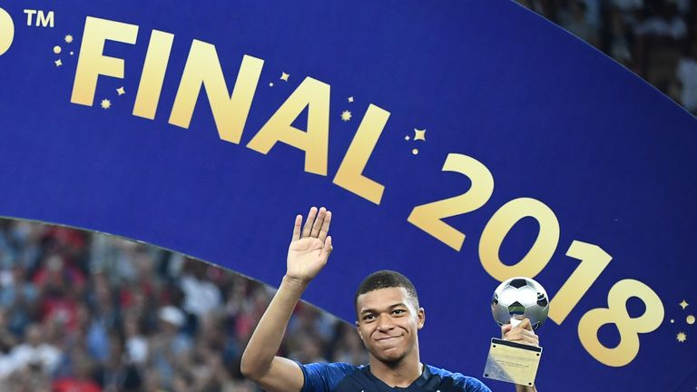 Kylian Mbappe was named the best young player of the 2018 World Cup in Russia