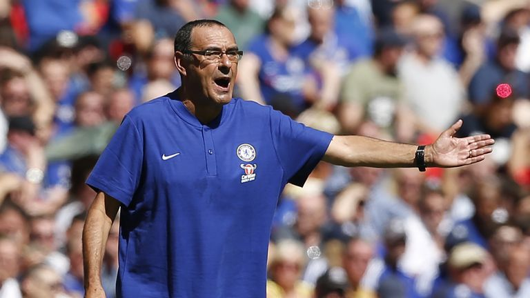 Maurizio Sarri gestures during the Community Shield