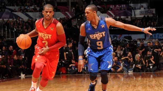 Chris Paul #3 of the Western Conference All-Stars drives against Rajon Rando #9 of the Eastern Conference All-Stars in the 2011 NBA All-Star Game at Staples Center on February 20, 2011 in Los Angeles, California.