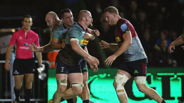 James Chisholm of Harlequins celebrates scoring his side's first try