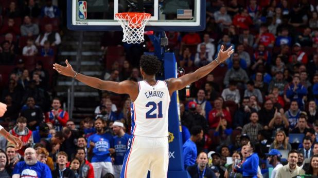 Joel Embiid's starring first half was enough to set Philaelphia on their way to victory over Detroit
