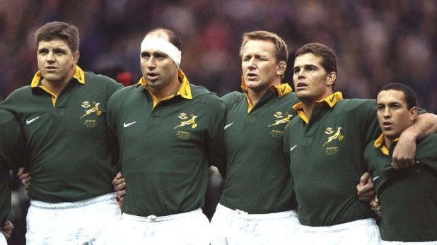 Current Springbok coach Rassie Erasmus (second from right) sings the anthem in Edinburgh in 1997 along with Krynauw Otto, Mark Andrews, Andre Venter and Werner Swanepoel