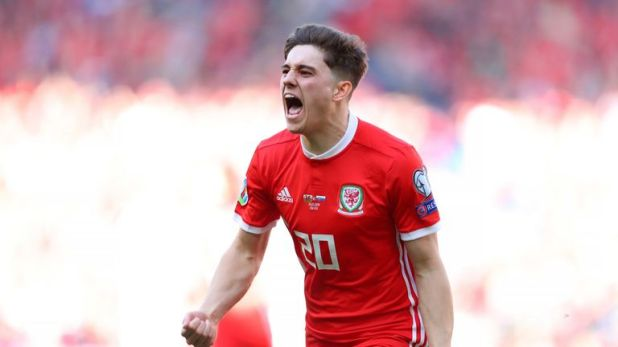 Daniel James celebrates his winner in Cardiff