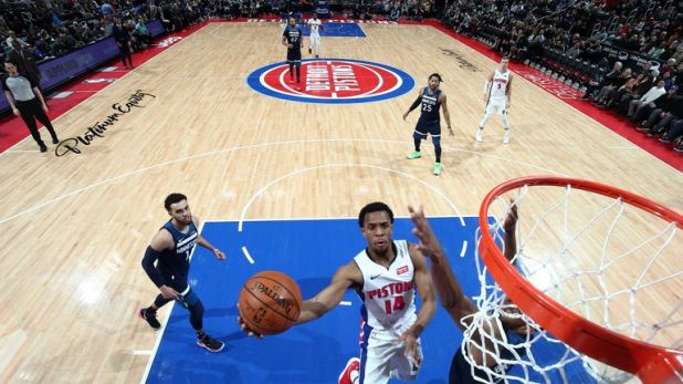 Ish Smith of the Detroit Pistons shoots the ball against the Minnesota Timberwolves
