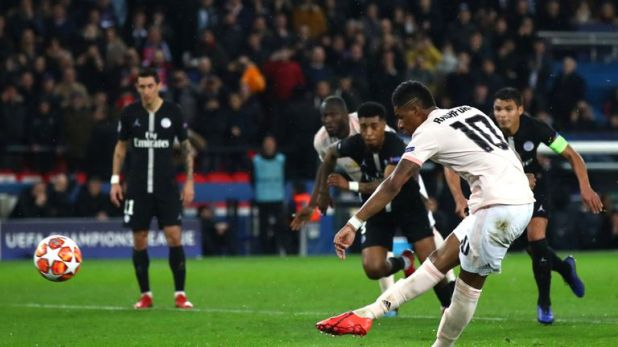 Marcus Rashford's VAR-awarded stoppage-time penalty fired Manchester United into the Champions League quarter-finals