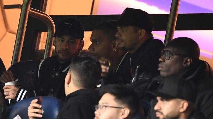 Neymar was watching the game from the stands due to an injury