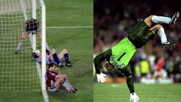 Bayern players were left dejected on the goal-line, while Peter Schmeichel celebrated Solskjaer's winner in style