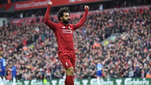 Mohamed Salah celebrates scoring for Liverpool against Chelsea