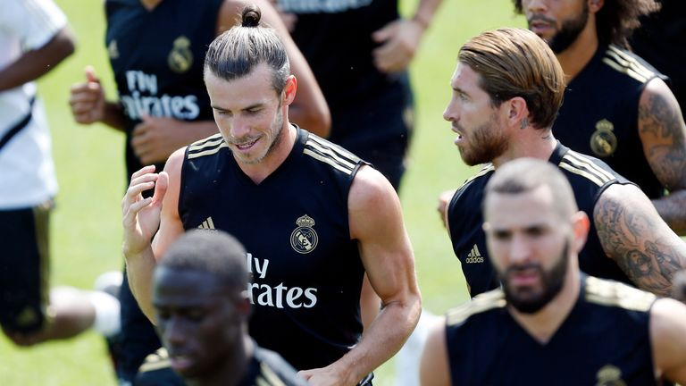 Gareth Bale trained with his Real Madrid team-mates yesterday ahead of the game against Arsenal
