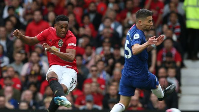 Anthony Martial slots home United's second during their 4-0 win in August