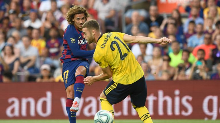Antoine Griezmann was kept quiet by Arsenal in the first half at the Nou Camp