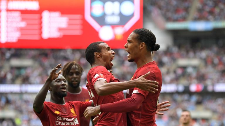 Joel Matip celebrates with Virgil van Dijk after scoring against Manchester City